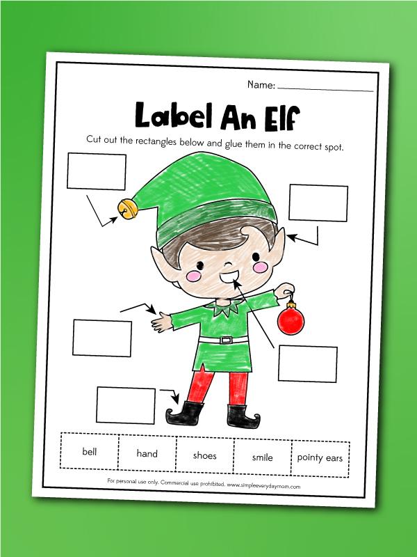 Label an elf worksheet