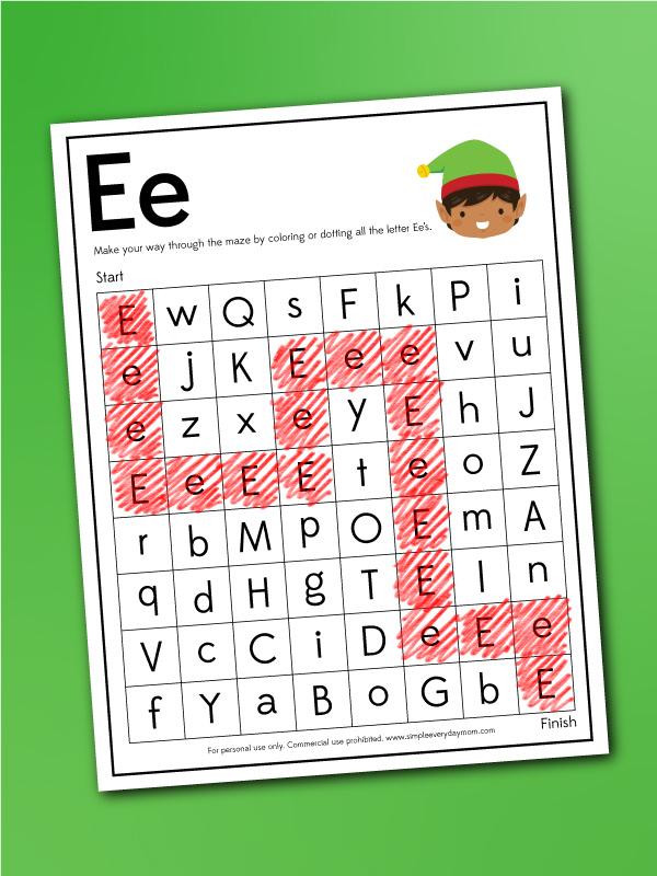 E letter maze worksheet