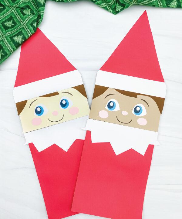 2 paper bag elf on the shelf crafts