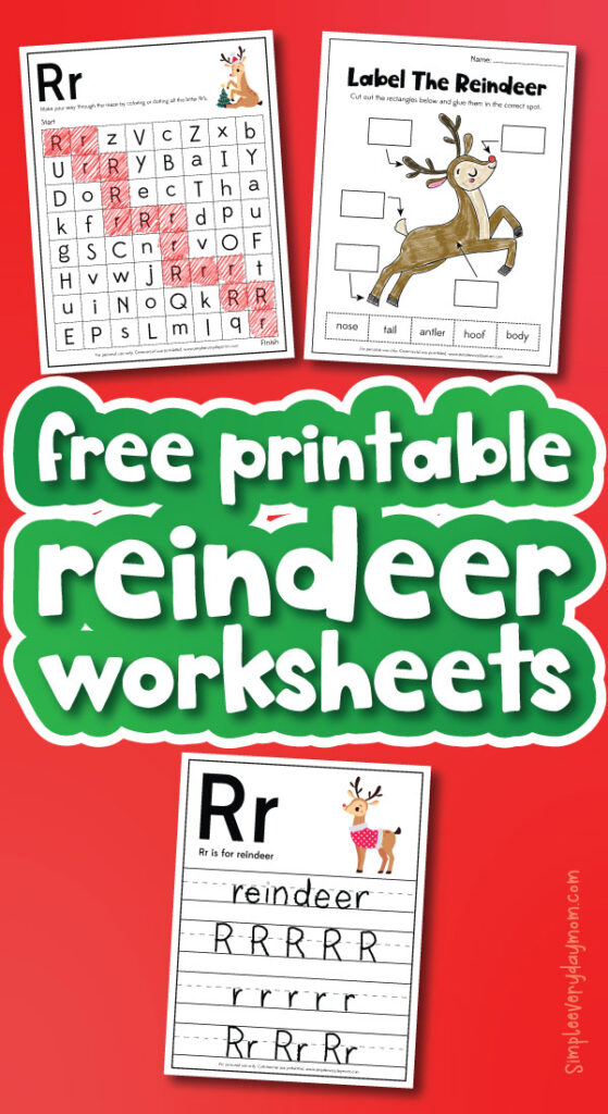 reindeer worksheets with the words free printable reindeer worksheets