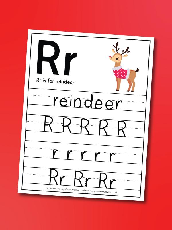 reindeer handwriting practice worksheet