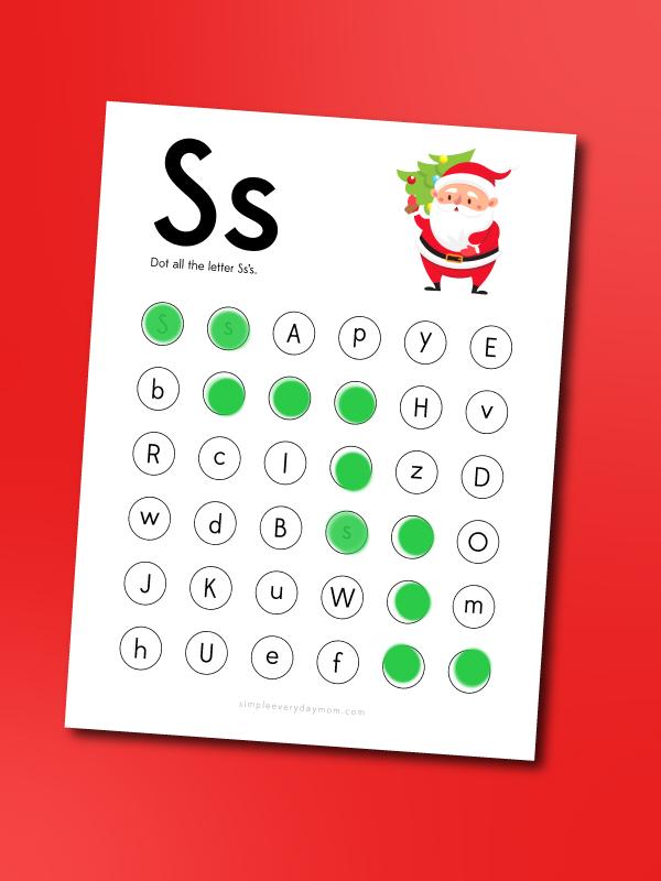 Santa do a dot printable letter s find
