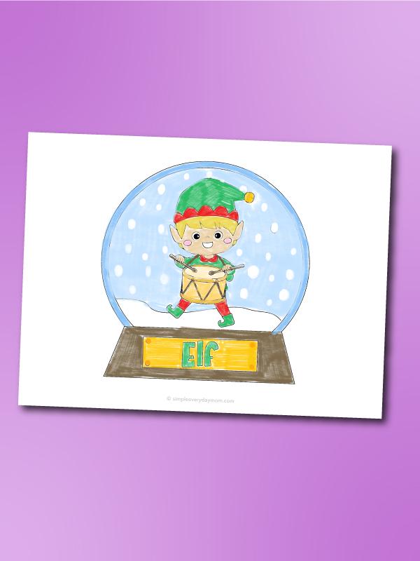 Elf snowglobe coloring page