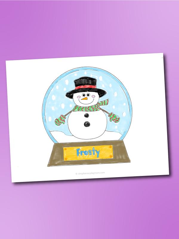 snowman snowglobe coloring page