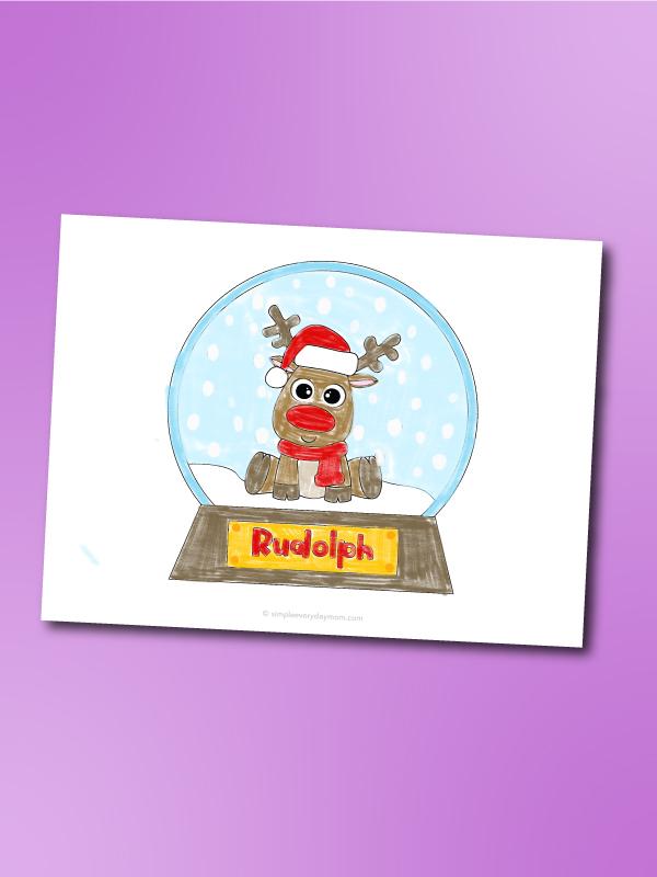 reindeer snowglobe coloring page