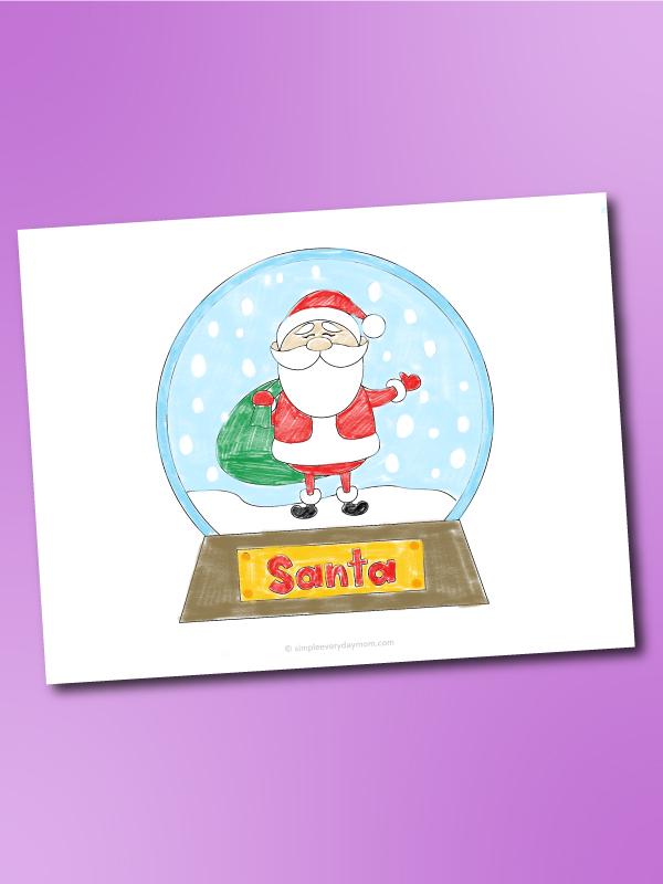 Santa Claus snowglobe coloring page