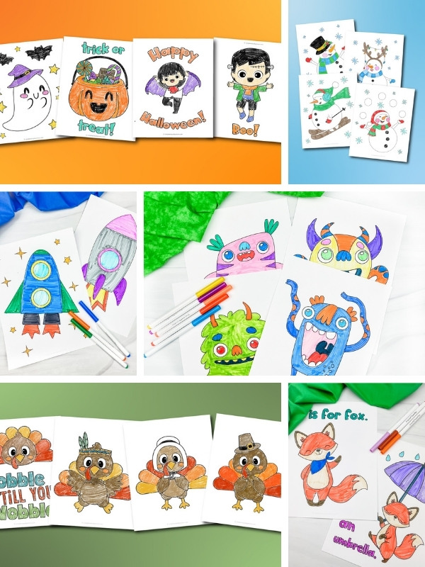 coloring pages for kids image collage