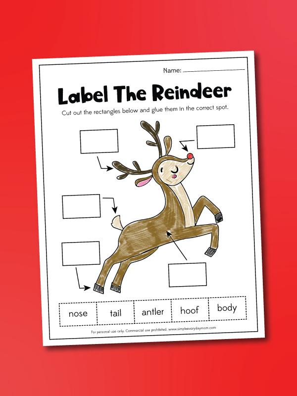 label a reindeer worksheet