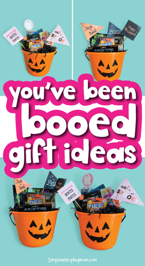 you've been booed bucket image collage with the words you've been booed gift ideas